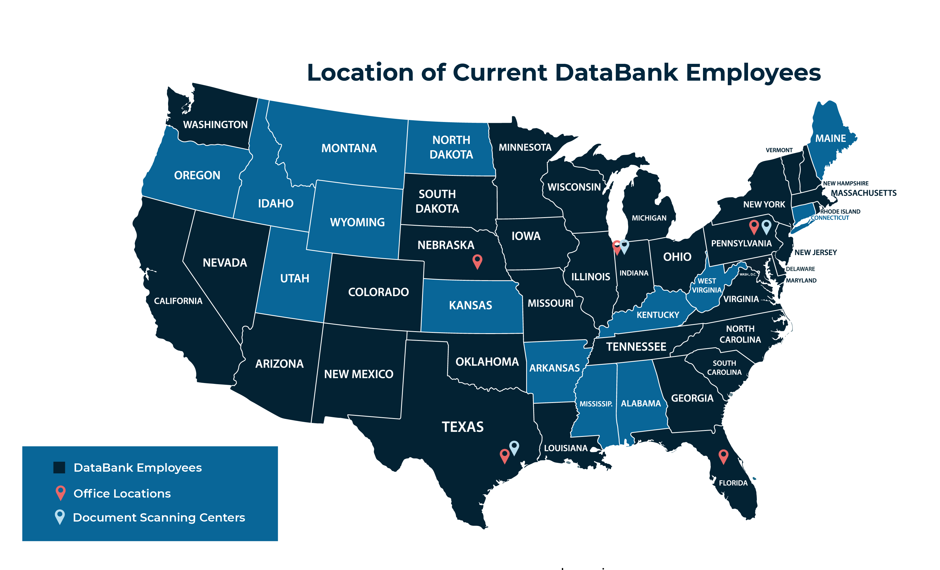 location of current databank employees